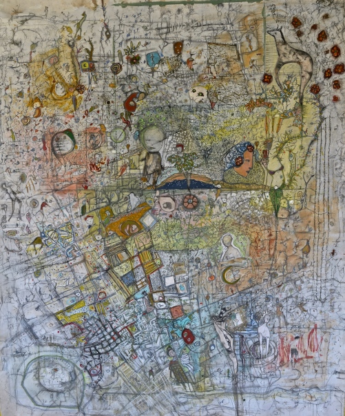 Motherboard, 5'x6' mixed media on un-stretched canvas, ©2017. Price on request.