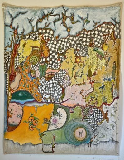 Summer Quilt, 4'x5' mixed media on un-stretched canvas, ©2016. Price on request..