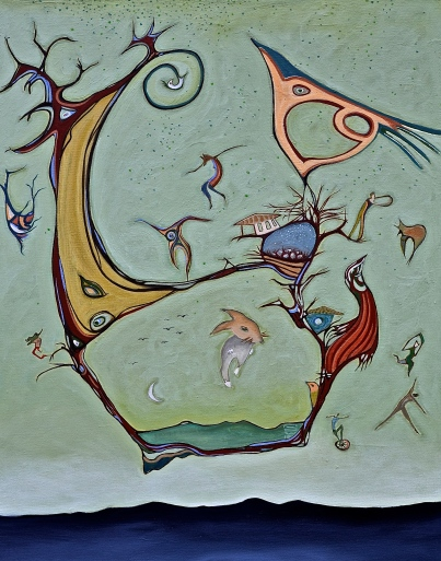 """Whirlygig, 24""""x30"""" mixed media on canvas. Price on request."""