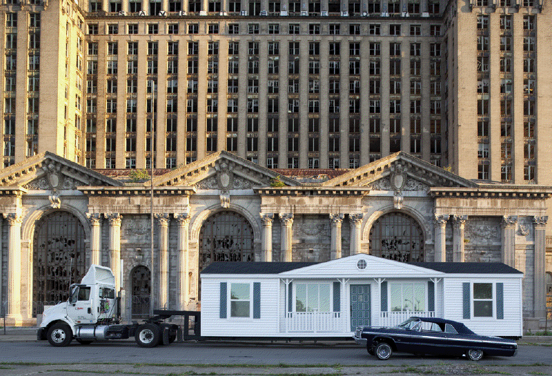 Mobile Homestead in front of the abandoned Detroit Central Train Station