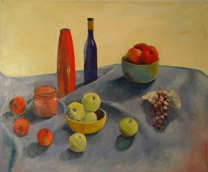 L.Sarantos.Apples, Grapes and Vases on Blue Cloth