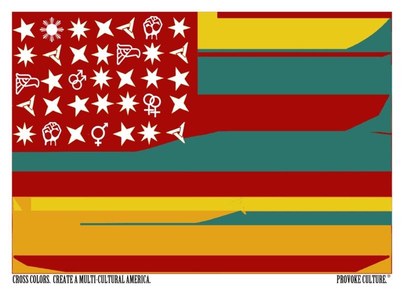 """Multicultural Flag"" Sam Kirk giclee print on artist matte paper 12 x 12"