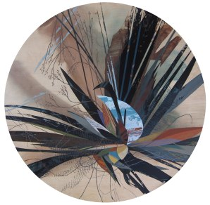 """Accumulation #3"", Acrylic on table top, 48"" diameter"