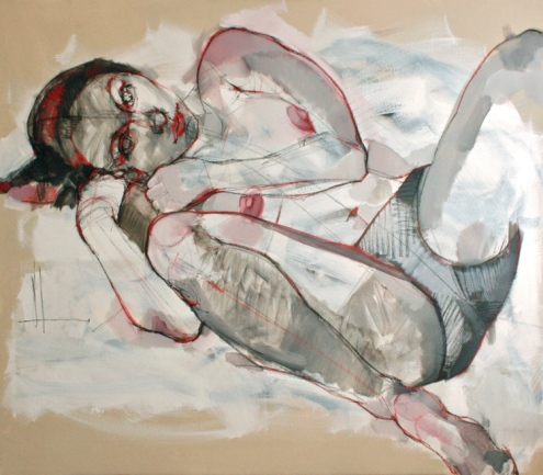 Untitled woman 2014 mixed-media on canvas 42x48in framed