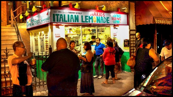 Mario's Italian Ice Stand on Chicago's near west side on a warm summer night.