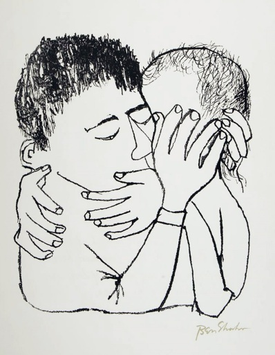 'Memories of Many Nights of Love' by Ben Shahn, 1968 From the portfolio For the Sake of a Single Verse Collection of Spertus Institute for Jewish Learning and Leadership