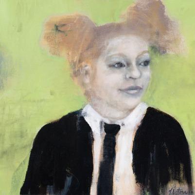 "School Girl, 15"", oil on canvas"