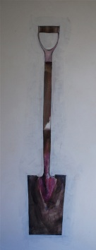 Flat Shovel 22 x 54 Mixed Media