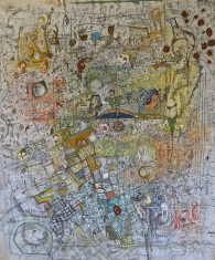 Motherboard 5'x6' acrylic, oil pastel, graphite, collage