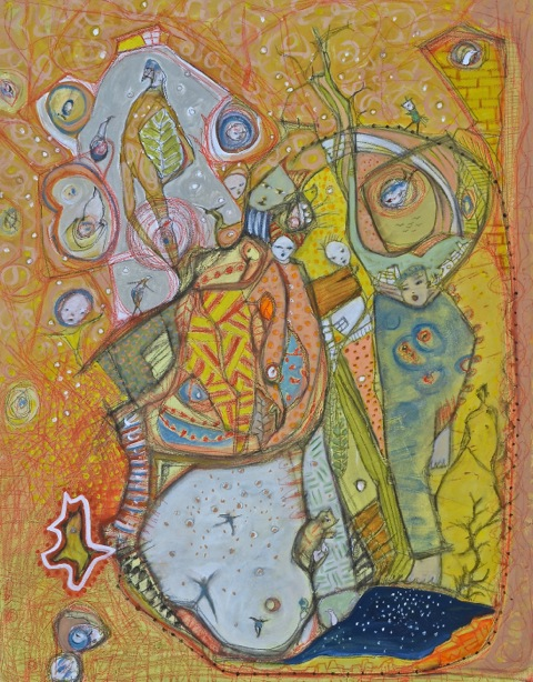 """It is a Sunny Day 22""""x28"""" acrylic, water color pencil on canvas"""